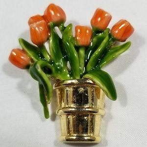 Vintage custom pin brooches enamel flower
